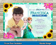 Frozen Fever Invitation for Birthday Party with photo - Digital File