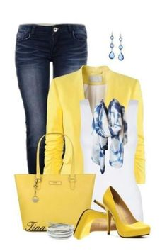 593cd650f86 Love it Yellow Jacket and accessories white tank and white scarf Blazer  Noir