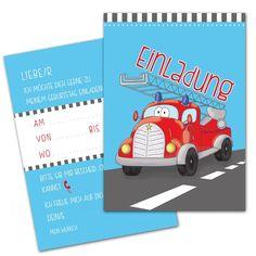 Feuerwehrparty: 10 EINLADUNGSKARTEN Zum Kindergeburtstag FEUERWEHR /  FEUERWEHRAUTO Einladung Karte