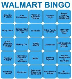 Walmart Bingo we have to play this at work omg