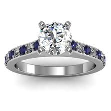 Pavé Blue Sapphire & Diamond Cathedral Engagement Ring set in 18k White Gold