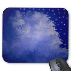Abstract Blue Tinted Fluffy Cloud Mousepads