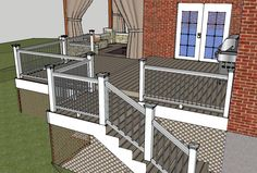 Dayton Patio design. I like the white pillars with iron spindles in this deck.