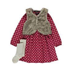 Faux Fur Gilet, Dress and Tights Set | Kids | George at ASDA