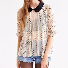 Polka dot collared mesh top Cute Cooperative polka dot mesh top from Urban Outfitters. Size is a XS but will fit a small. Cooperative Tops Blouses