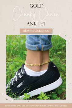 Chunky Gold Chain Anklet for Women, Lockdown Ankle Bracelet, Thick Gold Chain Anklet, Gold Ankle Bracelet, Simple Anklet, Bridesmaid Anklet Etsy Jewelry, Jewelry Stores, Handmade Jewellery, Slave Bracelet, Heart Bracelet, Gold Anklet, Anklets, Thick Gold Chain, Gold Hands