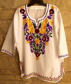 Womans Kurti Boho 100% Cotton White Top Sz L Handmade Ethnic Chikan Embroidery   #ASHA #TopTunic