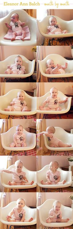 The Eames rocking chair was the constant in Elanor's monthly photo. Read more about it at Making it Lovely.com