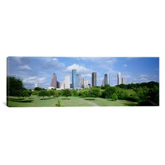 "East Urban Home Panoramic Cityscape Houston, Texas Photographic Print on Canvas Size: 20"" H x 60"" W x 1.5"" D"