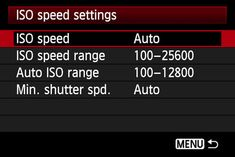 Auto ISO Speed Settings Menu
