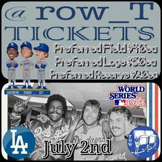 THINK BLUE: July 2nd 1981 Tri-MVP Bobblehead Ron Cey Steve Yeager & Pedro Guerrero Preferred Field $40ea... Preferred Loge $30ea... Preferred Reserve $20ea... Contact us for all ticket info... Email= row.t.aisle.seat@gmail.com Or Direct Message us on here  As always LET'S GO DODGERS!!! #Dodgers #Dodger #Doyers #DodgerBaseball #DodgerStadium #ChavezRavine #LosAngeles #BlueHeaven #ITFDB #BleedBlue #DodgerBlue #LosAngelesDodgers #LAD #LADodgers #WeLoveLA #INeedMyDodgers #ILoveLA…