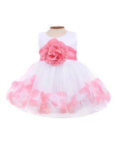 Look at this #zulilyfind! White & Coral Petal Dress - Infant #zulilyfinds