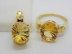 8.4 Cttw Concave Cut Citrine Ring & Pendant Jewelry Set 10k Solid Gold - NEW