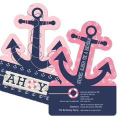 Ahoy Nautical Girl Party Invitations by BigDotOfHappiness