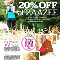 Bag 20 per cent off #ZAAZEE with an exclusive code inside the new @fitwellmagazine! Out now www.zaazee.co.uk #offer #discount #magazine #outnow #deal #activewear #fit #fitfam #fitspo #fitness #run #runner #runningwear #runhappy #gymgear #fitgirl #fitandwell #fitnessmodel #fitnessaddict #gymlife #fashion #fashiongram #fashionaddict