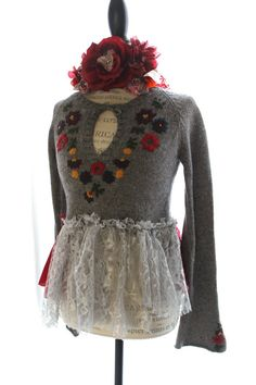 upcycled womens sweater, shabby , abercrombie, boho chic, romantic ruffle shirt, country chic, gypsy cowgirl, small. $72.00, via Etsy.