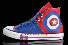 55a820a4ec42 Harper Beckham Converse British Flag High Tops Blue Red Tonal Stitching  Canvas Converse Chuck Taylor All