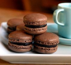 Dark Chocolate Coffee Macarons. While I doubt I have the skill or budget to make these, I would love to eventually do so...one day...