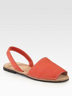 Nubuck Leather Slingback Sandal