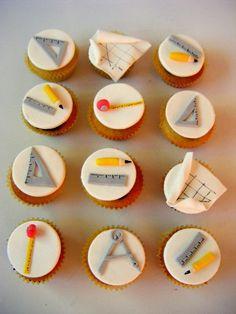 Petite Patisserie: Architec cake and cupcakes Fondant Cupcakes, Fondant Toppers, Cupcake Cakes, Fathers Day Cupcakes, Fathers Day Cake, Engineering Cake, Architecture Cake, Cake Design For Men, School Cupcakes