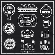 étiquettes de bière en noir et blanc Vecteur gratuit