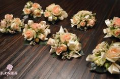 Blush and ivory wristlet corsages for mothers! Flowers and Photo by Rosie's…