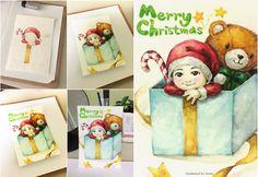 2015 Christmas card~❤️-수채화 물감으로 그린 크리스마스 카드.