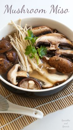 Mushroom Miso Soup. A great vegetarian lunch that is quick to prepare.