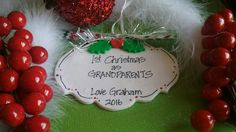Grandparents First Christmas Personalized Ornament, First Christmas by OodlesOfOrnaments on Etsy https://www.etsy.com/listing/465619940/grandparents-first-christmas