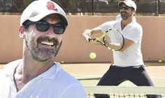 Jon Hamm, 45, brought out his best tennis game on Tuesday to compete with some of the tennis pros for a good cause in Rancho Mirage, California.