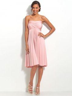 (NO.020387 )A-line Strapless Ruffles  Sleeveless Knee-length  Chiffon Pink Bridesmaid Dress / Cocktail Dress / Homecoming Dress