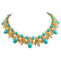 1stdibs | TIFFANY & Co. Diamond & Turquoise Necklace soooo amazing!! with jeans or black tie! fab..