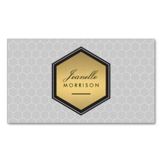 Elegant Gold Honeycomb Badge Beauty Salon, Stylist, Blogger Business Card Template - fully customizable front and back design. Just update with your own info!