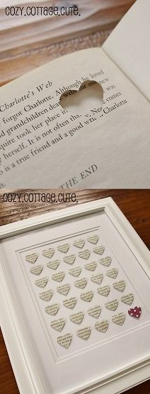DIY: punch a hole in the shape of a heart into an old dictionary, choosing certain words to describe the person you want to give it to, and arrange them into a frame for a decoration. This site has lots of Valentines DIY gift ideas. Cute Crafts, Crafts To Do, Paper Crafts, Old Book Crafts, Easy Crafts, Craft Gifts, Diy Gifts, Diy Projects To Try, Craft Projects