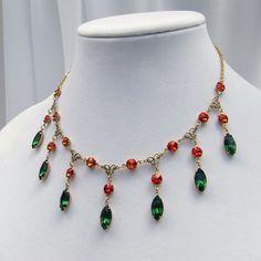 Fire Opal and Tourmaline Necklace, Orange, Green, Swarovski bib