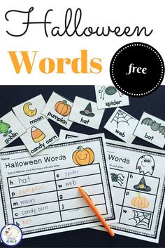 Free Halloween word work center. Draw, print and write sentences using Halloween vocab.