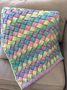 Knit Entrelac Baby Blanket Free Pattern