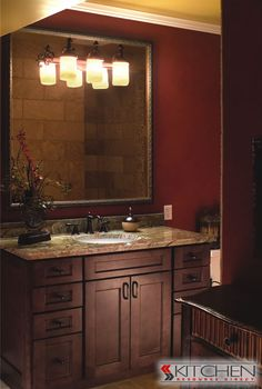 love this dark red bathroom! Inspiration for mine.
