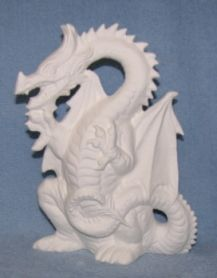 Castle with Dragon on Rock Mountain 14 Ceramic Bisque