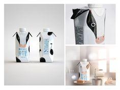 Hi!Milk funny milk packaging with cow design packaging de la Milk Packaging, Beverage Packaging, Packaging Design, Tetra Pak, Poster Fonts, Animal Logo, Goat Milk, Food Design, Cover Design