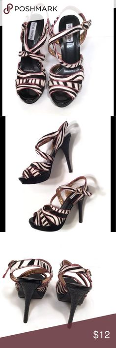 Cute zebra pattern open toe heels In great condition black and hint of pink trim open toe heels. No tears or stains. Steve Madden Shoes Heels