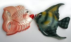 1950s Kissing Fish Chalkware Miller Studio Irredescent Gold Fish and Angel Fish Pouting Lips Retro Fabulous Nursery Garden Kitchen Decor