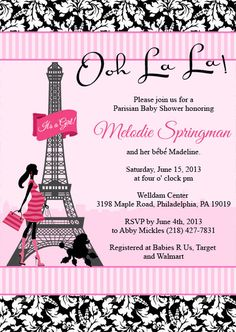 Poodles and Paris Baby Shower Invitation by PlayfulPrints on Etsy