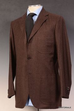 KITON Napoli Hand Made Brown Wool-Cashmere Suit EU 48 NEW US 36 38