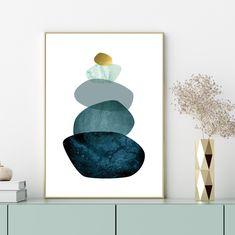 Downloadable prints Teal and gold Balancing Stones printable | Etsy World Map Printable, Printable Wall Art, Geometric Mountain, Minimalist Scandinavian, Teal And Gold, Geometric Art, Picture Wall, Printing Services, Digital Prints