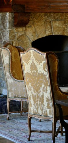 Old World Style Chairs / Fleur-de-lis Design Fabric Love Chair, French Chairs, French Sofa, Old World Style, Tuscan Style, Upholstered Chairs, Wingback Chairs, Armchair, Take A Seat