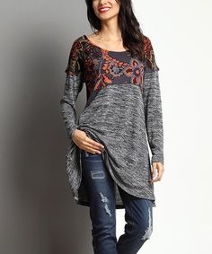 Look at this #zulilyfind! Charcoal Mélange & Floral Empire-Waist Tunic by Reborn Collection #zulilyfinds