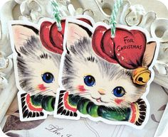 NEW  Vintage Retro Christmas Cat Tags  Set by LittlePaperFarmhouse