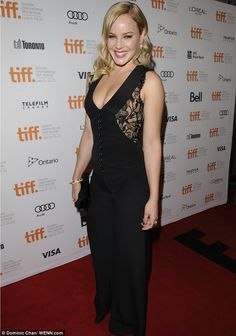 Racy in lace: Abbie Cornish wore a black jumpsuit with lace panels on the bust in Toronto tonight for the premiere of Disconnect Abbie Cornish, Toronto Film Festival, Celebs, Celebrities, Ontario, Supermodels, Hollywood, Black Jumpsuit, Female