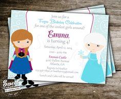 Frozen Invitation Princess Anna Elsa Disney Inspired Birthday Party Card Digital Printable DIY